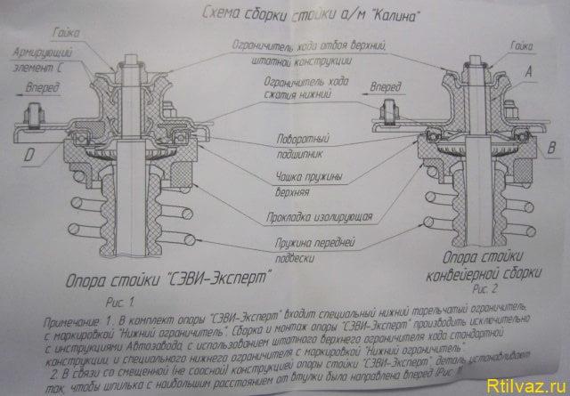 Assembly diagram rack Kalina e1490636510416 Опорный подшипник передней стойки автомобиля
